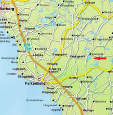 Karta med pil på Sjönevadssjön